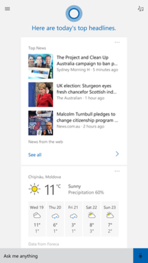 Cortana - Cortana white interface on Windows 10 Mobile