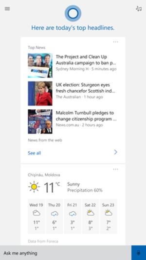 Cortana - Cortana white interface on Windows 10 Mobile
