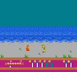 Ganso Saiyūki: Super Monkey Daibōken - Sun must fight a crocodile-like enemy in order to progress in this level.