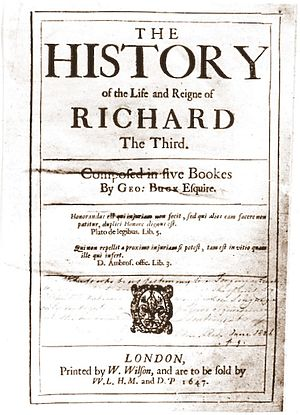 George Buck - Title page to corrupted version of Buck's History, misappropriated and published 1647 (2nd issue) by Buck's great-nephew