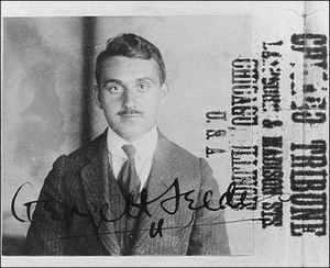 George Seldes - Picture of a young George Seldes for a Chicago Tribune filecard. Notice the Chicago Tribune stamp