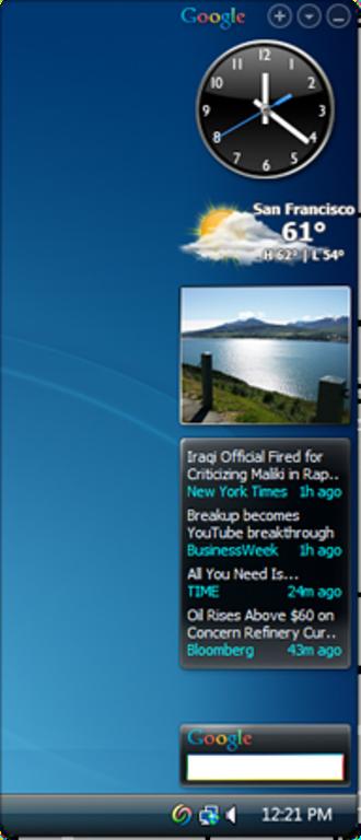 Google Desktop - The GDS Sidebar sits on the user's desktop and displays relevant information.