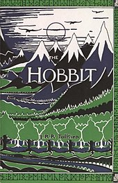 The Hobbit  Wikipedia Cover Has Stylized Drawings Of Mountain Peaks With Snow On The Tops And  Trees At The