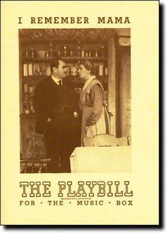 I Remember Mama (play) - Playbill for the 1944 play, I Remember Mama