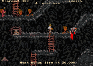 Indiana Jones and the Temple of Doom (1985 video game) - Screenshot of the arcade version.