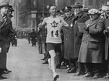 Johnny Miles winning the 1926 Boston Marathon.jpg
