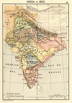 Anglo-Nepalese War - Map of India in 1805