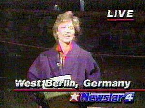 KOMO-TV - KOMO-TV's Kathi Goertzen in a screengrab from a 1989 report on the Berlin Wall takedown.