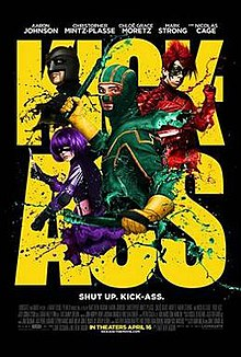 The foreground features the superhero Kick-Ass in his green and yellow costume. Against a black background the words KICK-ASS are written in yellow block capitals.
