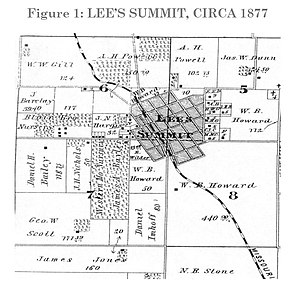Lee's Summit, Missouri - Lee's Summit circa 1877. From the 1877 Illustrated Historical Atlas of Jackson Co. Missouri.