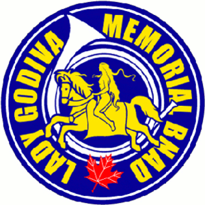 Lady Godiva in popular culture - The crest of the Lady Godiva Memorial Band, chiefly made up of engineering students at the University of Toronto.