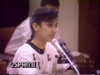 Nayirah testimony - Nayirah al-Ṣabaḥ during her testimony. It was later revealed that she was the daughter of the Kuwaiti ambassador to the United States and that her testimony could not be verified.