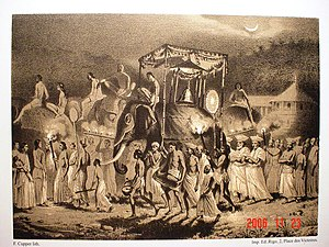 Radala - A lithograph from 1841 showing traditional Nilames walking in the Kandy Perehera.