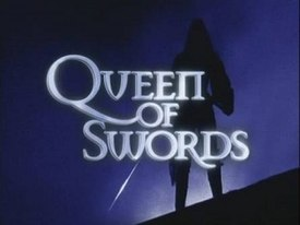 Alt=A silhouette of the Queen of Swords behind the title