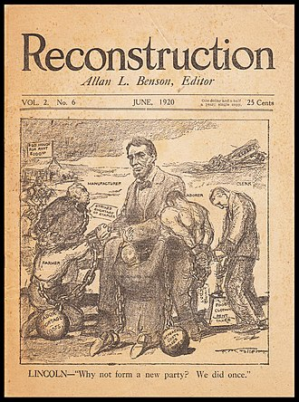 Allan L. Benson - Cover of the June 1920 issue of Benson's magazine, Reconstruction.