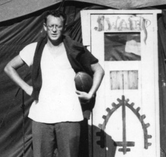 """Richard Hooker (author) - Hooker at the original """"Swamp"""" tent at the 8055th Mobile Army Surgical Hospital in South Korea during the Korean War."""