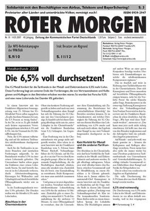 "Communist Party of Germany (Roter Morgen) - A cover of ""Roter Morgen"" (issue 1/2007)"