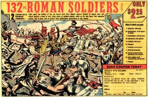 "Russ Heath - One version of Heath's ""Roman Soldiers"" ad that appeared for years on the backs of 1960s and 1970s comic books"