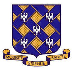 Rutlish School - Image: Rutlish School Shield Crest Present Modeste Strenue Sancte