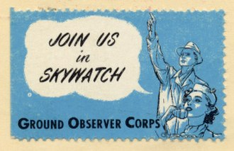 Ground Observer Corps - 1950s civilian Skywatch recruiting sticker