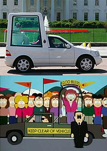 Two images are shown next to each other for comparison purposes. The top images if a modified gray truck with a large dome attached to the back, with a man dressed all in white visible sitting inside. The bottom image is a crudely animated cartoon image of similarly modified brown truck with a woman standing and waving inside the dome. A man wearing a black suit and sunglasses stands in front of the truck, and a large crowd of onlookers stand behind it.