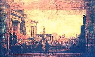 Nobile Teatro di San Giacomo di Corfù - The historic stage curtain of Teatro di San Giacomo depicting a scene from the Odyssey