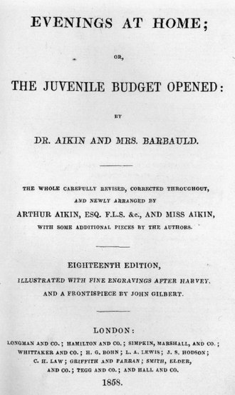 Evenings at Home - Title page from a later (1858) edition.