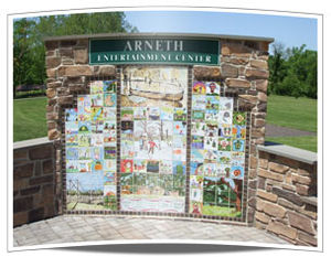 "Towamencin Township, Montgomery County, Pennsylvania - Local Artists Design Memory Wall Students from General Nash, Walton Farm, and Inglewood Elementary along with members of the North Penn High School Art Club created more than 75 original ceramic tiles depicting ""Life in Fischer's Park"". Mounted in a fieldstone masonry wall, it serves as a perfect gateway to the Arneth Entertainment Center."