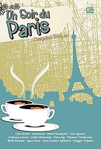 "Stylised cover with the Eiffel tower in the background and two cups of coffee in the foreground. The title ""Un Soir du Paris"" is written in the upper-left corner."