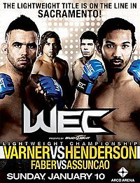 A poster or logo for WEC 46: Varner vs. Henderson.