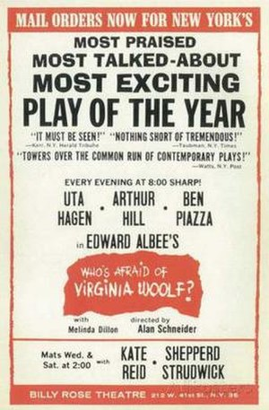 Who's Afraid of Virginia Woolf? - 1962 Broadway poster