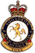 "Crest of 36 Squadron, Royal Australian Air Force, featuring prancing horse in gold and the motto ""Sure"""