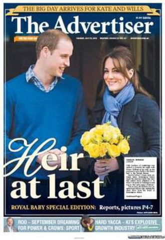 The Advertiser (Adelaide) - Prince William and Catherine, Duchess of Cambridge, on front page of The Advertiser on 23 July 2013
