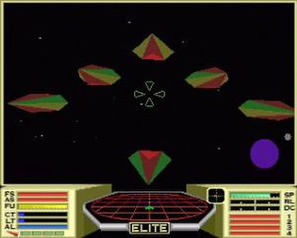 Elite (video game) - Enhanced graphics in the Archimedes version of Elite, showing several Viper-class police ships flying in formation and a planet in lower-right corner