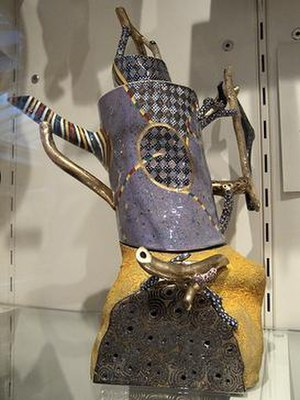 Ralph Bacerra - Teapot, 1989, earthenware with lusters by Bacerra in the collection of the Smithsonian American Art Museum