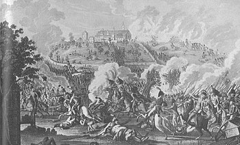 Engraving by Johann Lorenz Rugendas shows French infantry storming the abbey in the background while dragoons chase fleeing Austrians in the foreground.