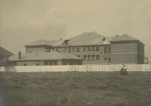 Berkeley High School (California) - Berkeley High School, rear view of building showing toppled chimneys after the 1906 San Francisco earthquake