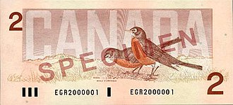 Birds of Canada (banknotes) - The obverse and reverse of the Birds of Canada $2 banknote.