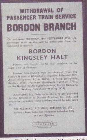 Bordon Light Railway - British Rail closure notice (1957)