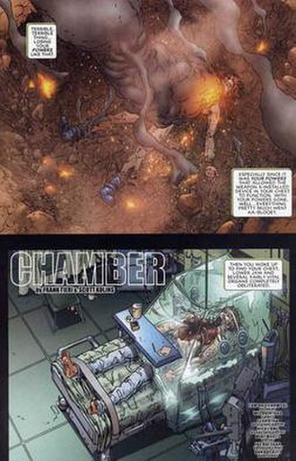 Chamber (comics) - Decimation almost destroys Chamber. Art by Scott Kolins.