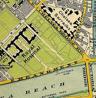 Royal Hospital Chelsea - The Royal Hospital on Stanford's map of central London 1897