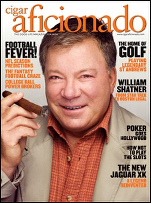 Cigar Aficionado - Cigar Aficionado has regularly used cigar-smoking celebrities on its covers, such as this issue featuring actor William Shatner.