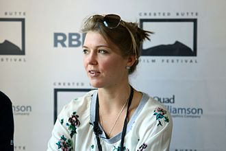 Crested Butte Film Festival - Courtney Marsh, of Chau, Beyond the Lines, is interviewed at a filmmaker's function.