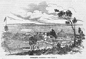 Lithograph of Cremorne Gardens in 1862