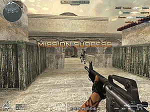 CrossFire (video game) - A mission success screen on a team deathmatch mode, the player holding a M16