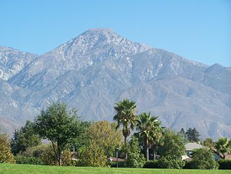 Alta Loma, Rancho Cucamonga, California - Cucamonga Peak looms over Alta Loma which lies along the foothills of the Southern face of the San Gabriel Mountains