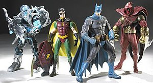 DC Superheroes (toys) - DC Superheroes Series 3. Left to right: Mr. Freeze, Robin, Batman, and Azrael