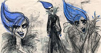 Elsa (Disney) - Early concept art depicting a darker version of Elsa inspired by Amy Winehouse.