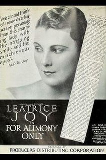 <i>For Alimony Only</i> 1926 film by William C. deMille
