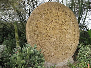 Forest Lawn Memorial Park (Hollywood Hills) - A large Aztec calendar replica in the plaza